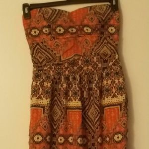 Beautiful Ethnic Print Tube Top Dress